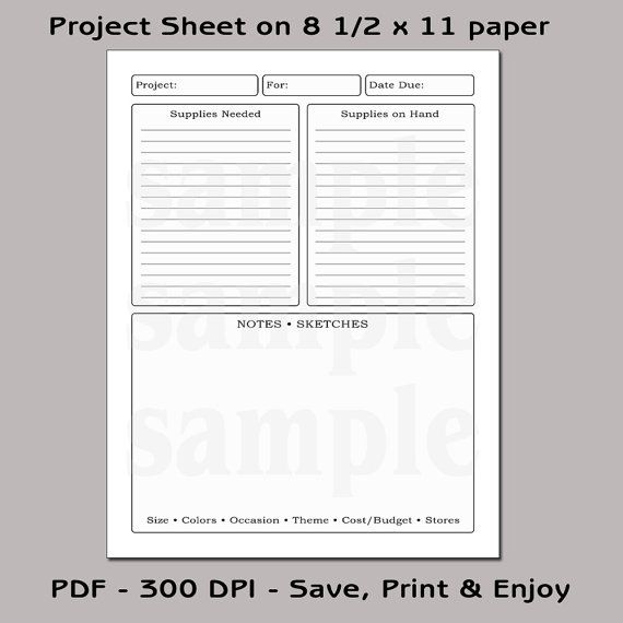 printable project planning sheets bing images crafts pinterest