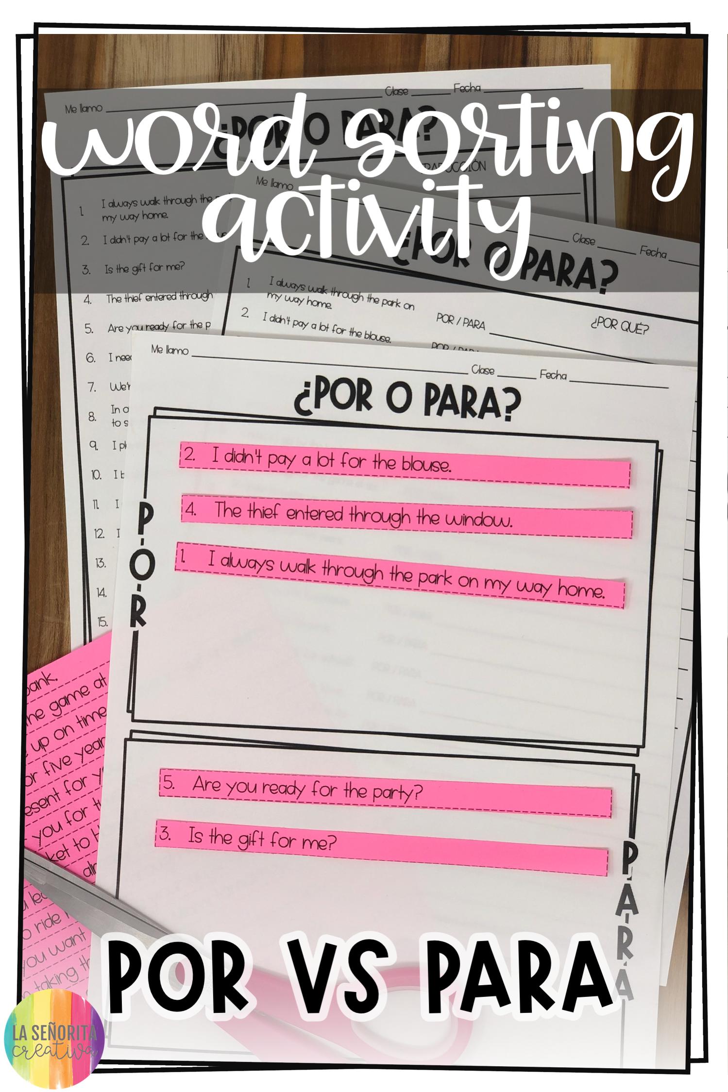 Por Y Para Spanish Sorting Activity And Worksheets