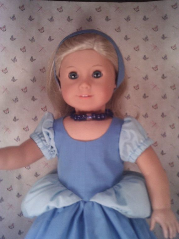 """Cinderella Dress for American Girl or 18"""" Doll includes Blue Dress with peplums, Necklace and Headband in cotton fabric."""