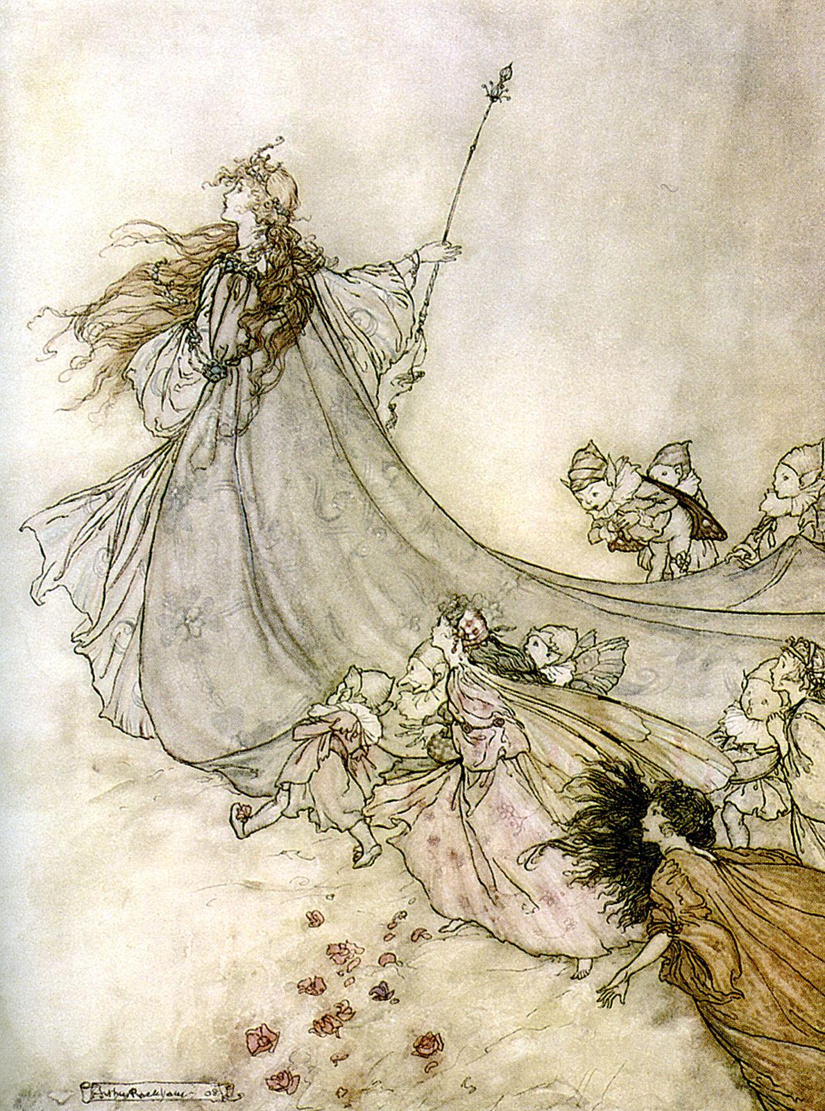 Fairies away! We shall chide downright, if I longer stay  A Midsummer-Night's Dream  illus.  Arthur Rackham