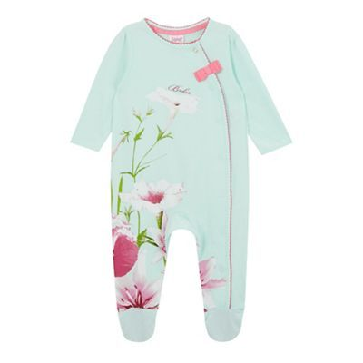 4eb0b639708 Baker by Ted Baker Baby girls  light green sleepsuit and headband ...