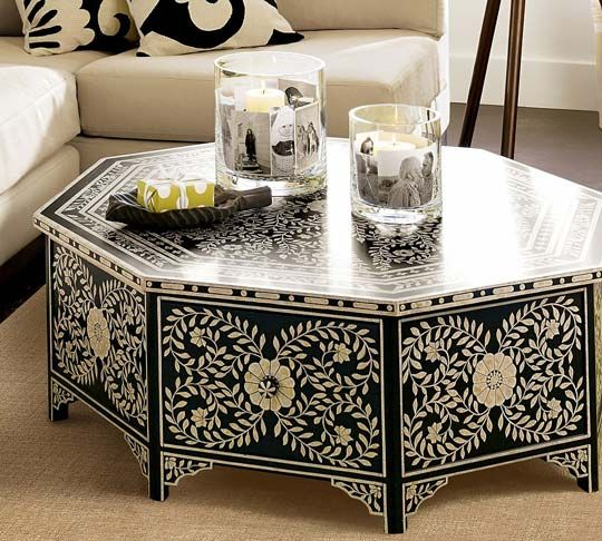 de santis hand-painted coffee table from pottery barn | moroccan