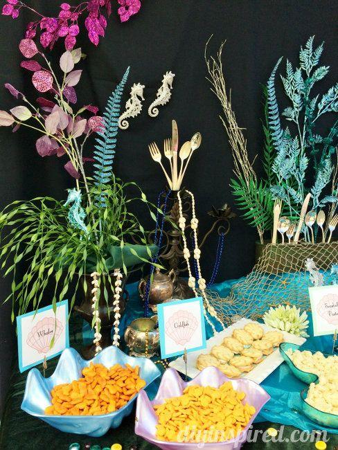 Ariel Treasure Trove Decorations And Under The Sea Food Table Ideas