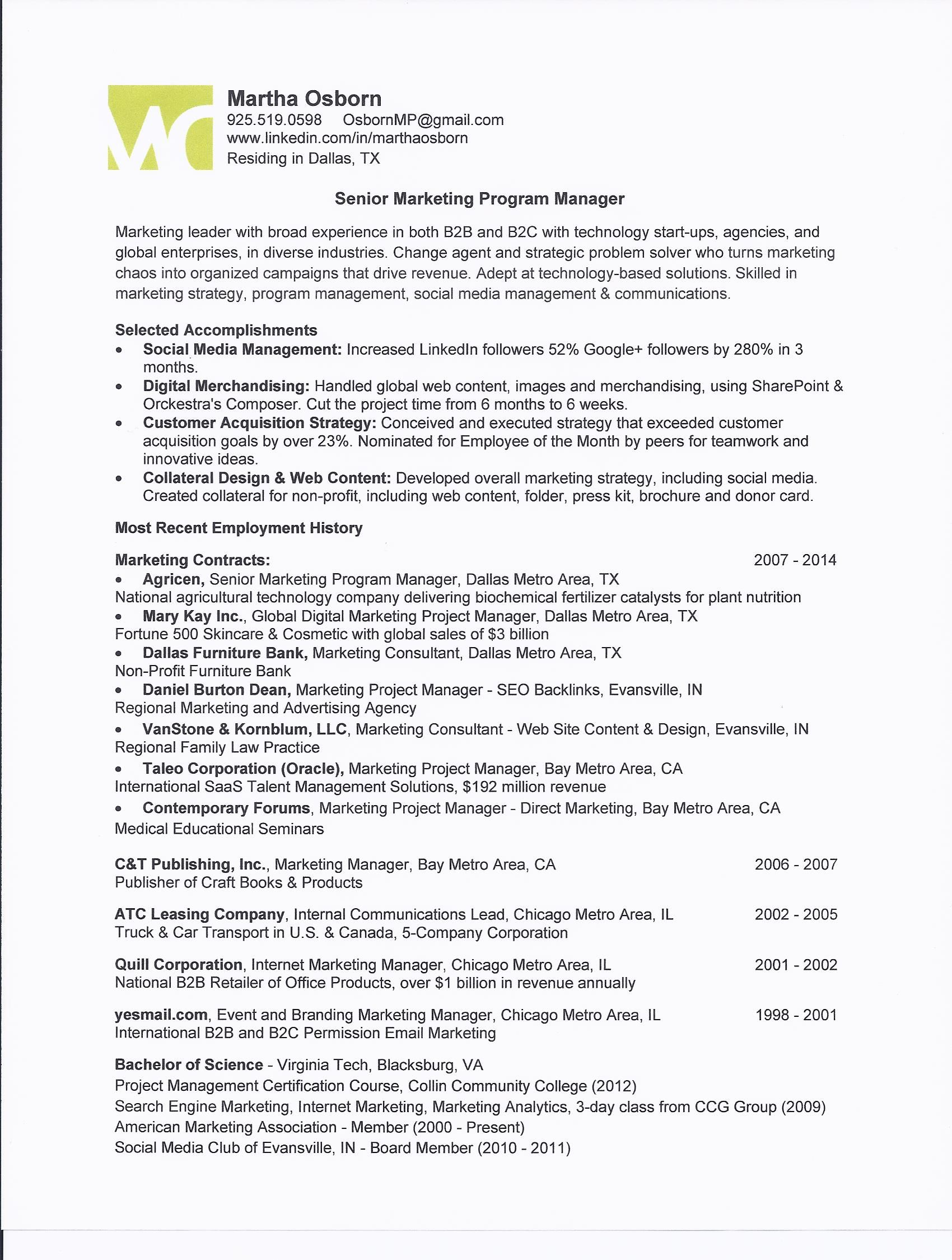 Marketing Program Manager One Page Resume For Martha