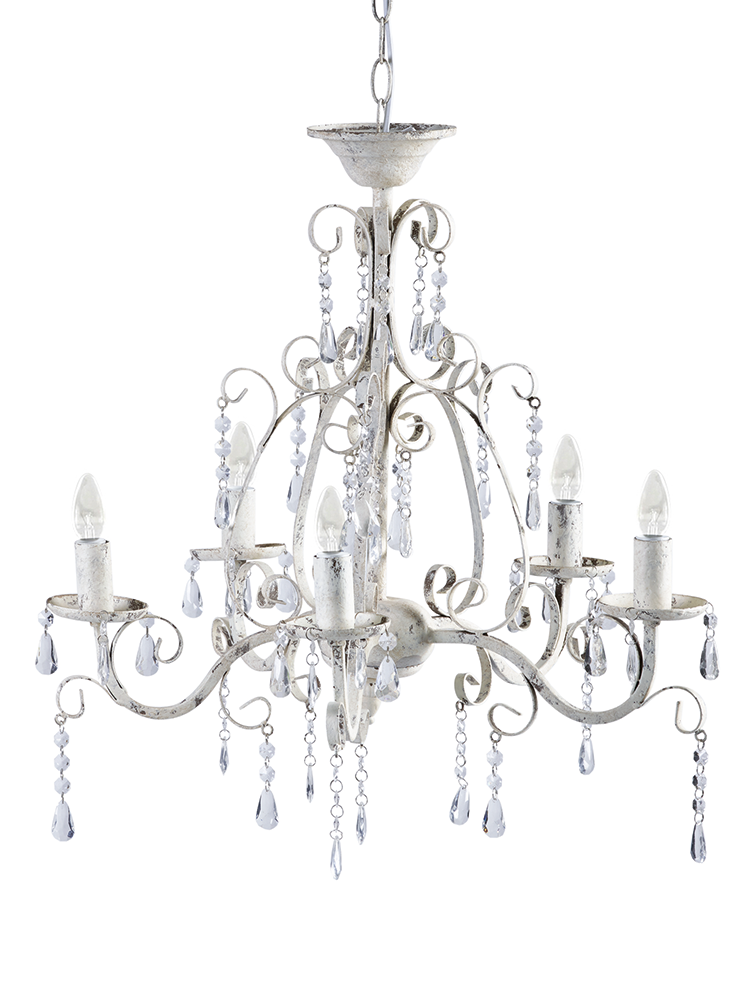 Add a touch of elegance to your bedroom with our beautiful vintage finished antique  white chandelier. Made from lightweight metal with a distressed painted ... - Add A Touch Of Elegance To Your Bedroom With Our Beautiful Vintage