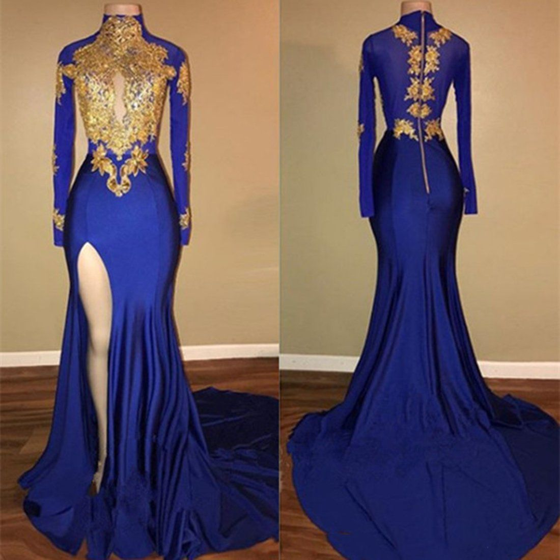 Royal blue long sleeve gold appliques mermaid prom dress with slit