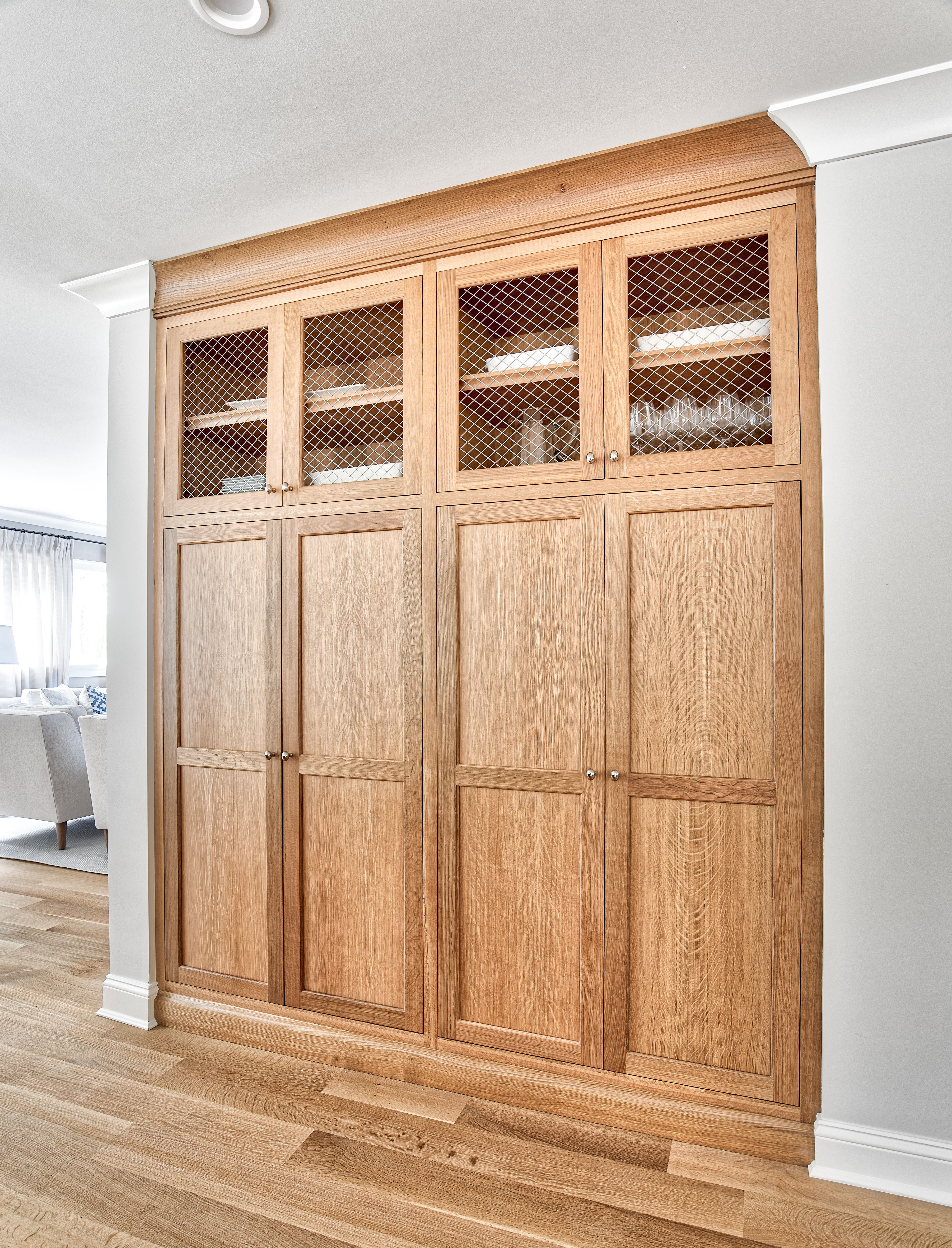 Oak Pantry With Brass Wire Mesh In 2020 Wood Pantry Cabinet Pantry Cabinet Built In Pantry