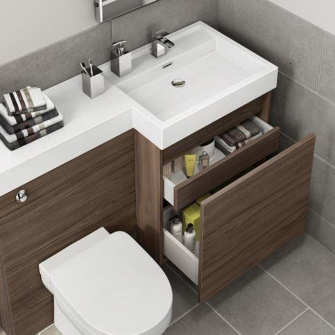 1206mm Olympia Walnut Effect Drawer Vanity Unit Sabrosa Pan Small Bathroom Vanities Small Toilet Room Bathroom Layout