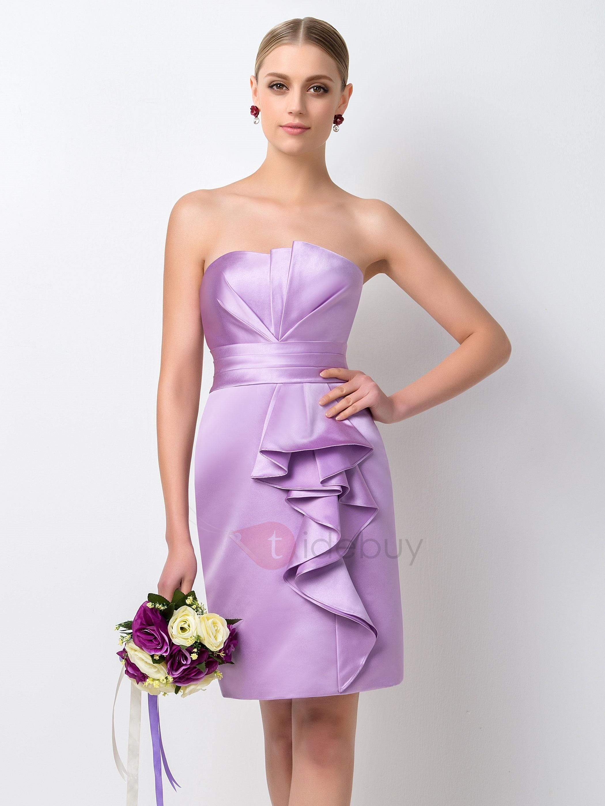 Short purple wedding dresses  TideBuy  TideBuy Concise Strapless Sheath Short Purple Bridesmaid