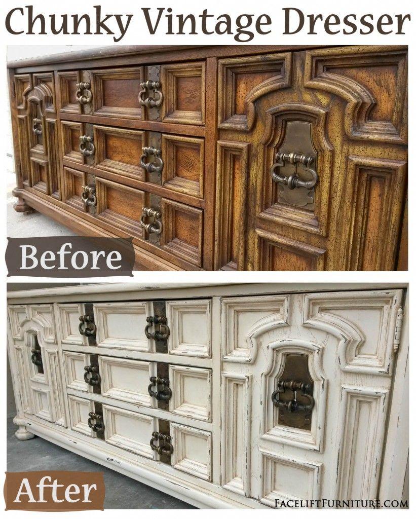 Off White Chunky Vintage Dresser Before After Vintage