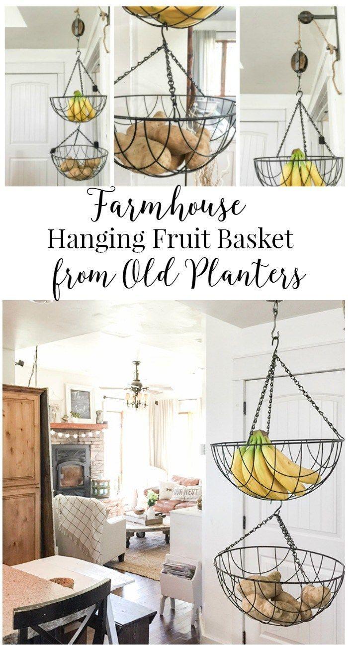Upcycled Farmhouse Hanging Fruit Basket Hanging Fruit Baskets