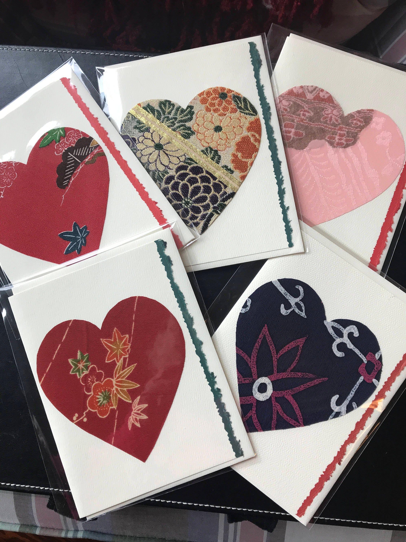 5 silk greeting cards handmade vintage japanese kimono