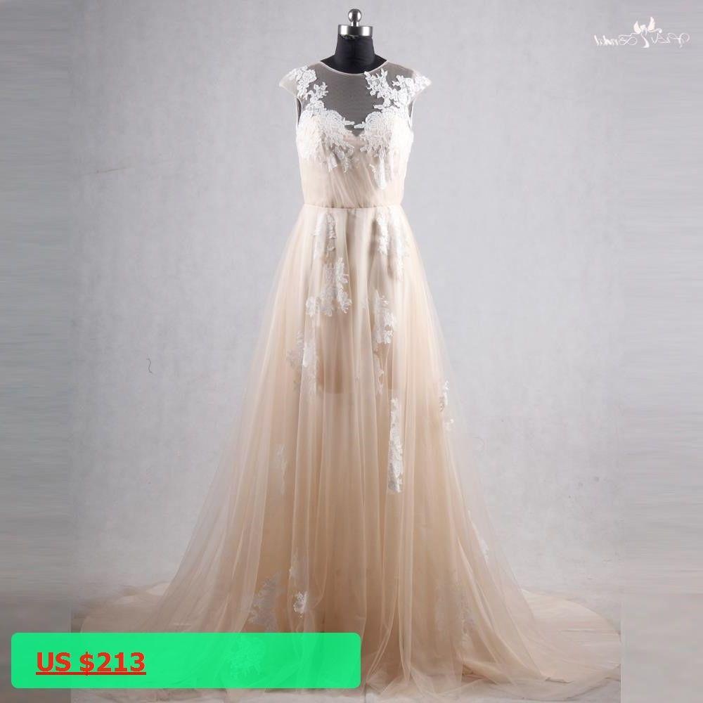 Rsw abiti sposa tulle champagne wedding dress beach