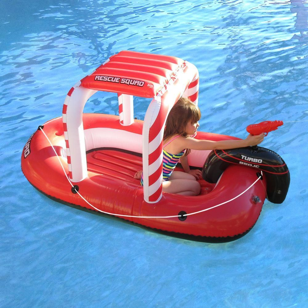 Blue wave rescue squad inflatable boat with squirter red - Swimming pool basketball hoop costco ...