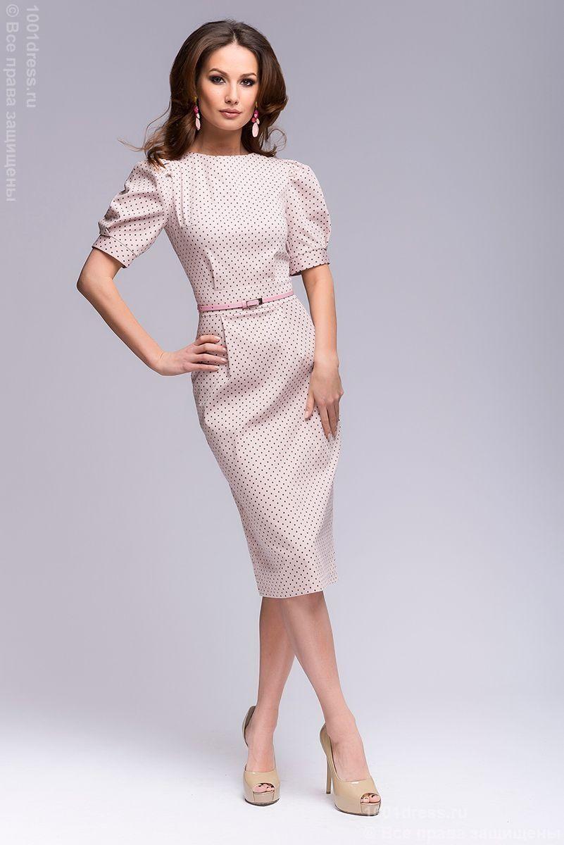 15b4356d437 Платье нежно-розового цвета в мелкий горошек с короткими рукавами ...