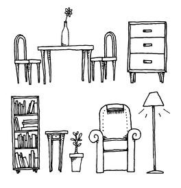 Cartoon Furniture Black And White Google Search Illustration Stock Illustration Feature Armchair