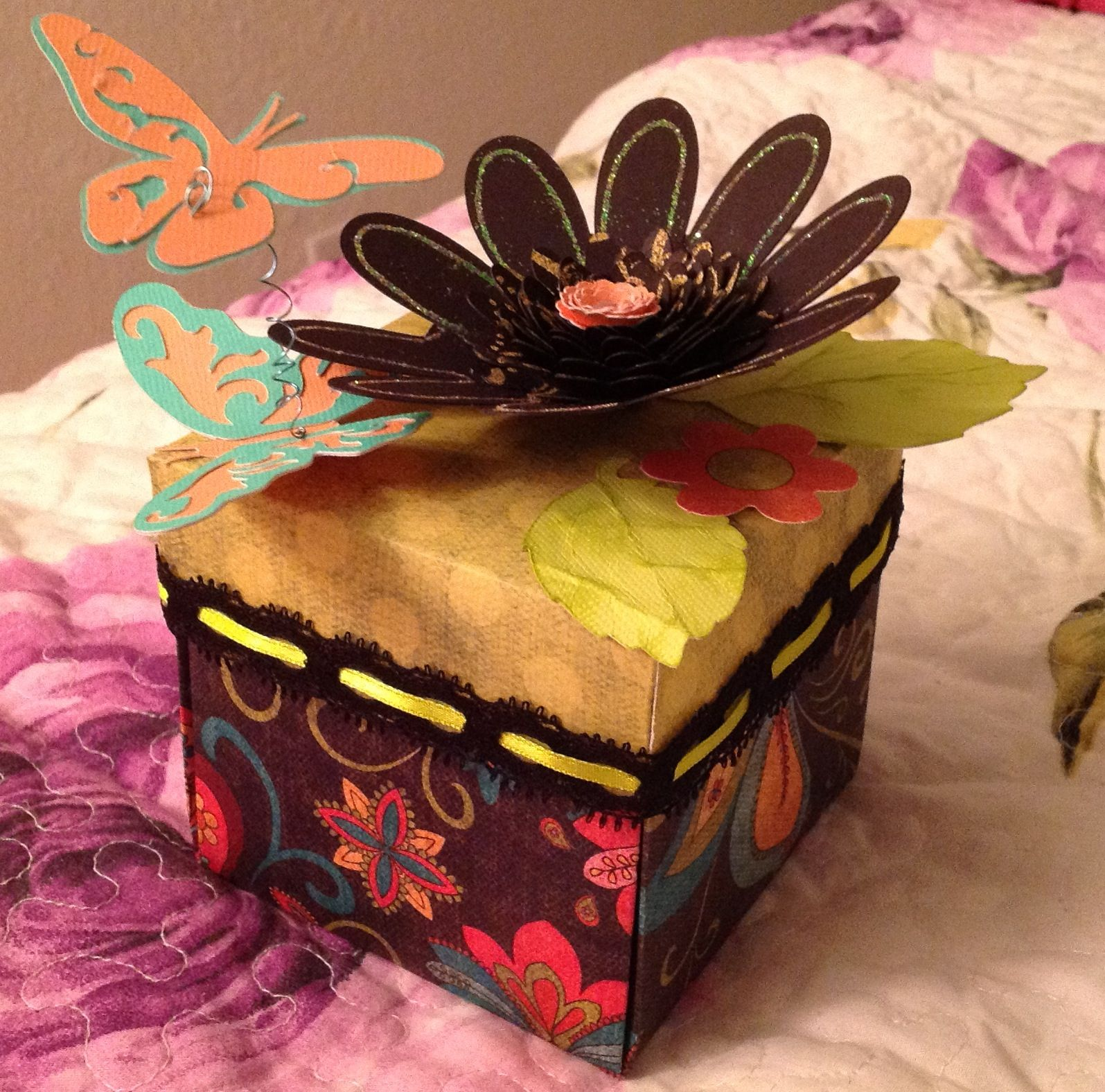 Explosion box with glitter, butterflies, flowers