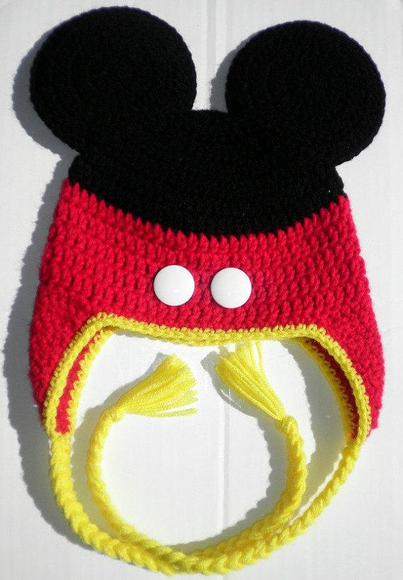 Custom crochet Mickey Mouse pants ears ear flap hat photo prop ... c2b30b170c8