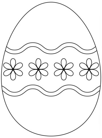 Easter Egg with Simple Flower Pattern coloring page from