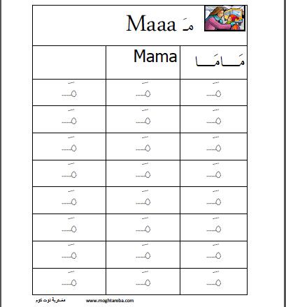 أوراق عمل اللغة العربية حرف الميم المفتوح Arabic Alphabet For Kids Learning Arabic Teach Arabic