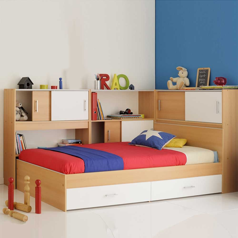 stauraum bett f r kinderzimmer buche wei 4 teilig jetzt bestellen unter https moebel. Black Bedroom Furniture Sets. Home Design Ideas