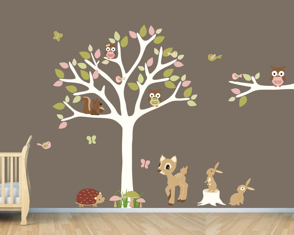 Owl Tree Forest Animals Woodland Nursery Wall Decal Hedgehog Squirrel Friendship Falls 128 00 Via Etsy