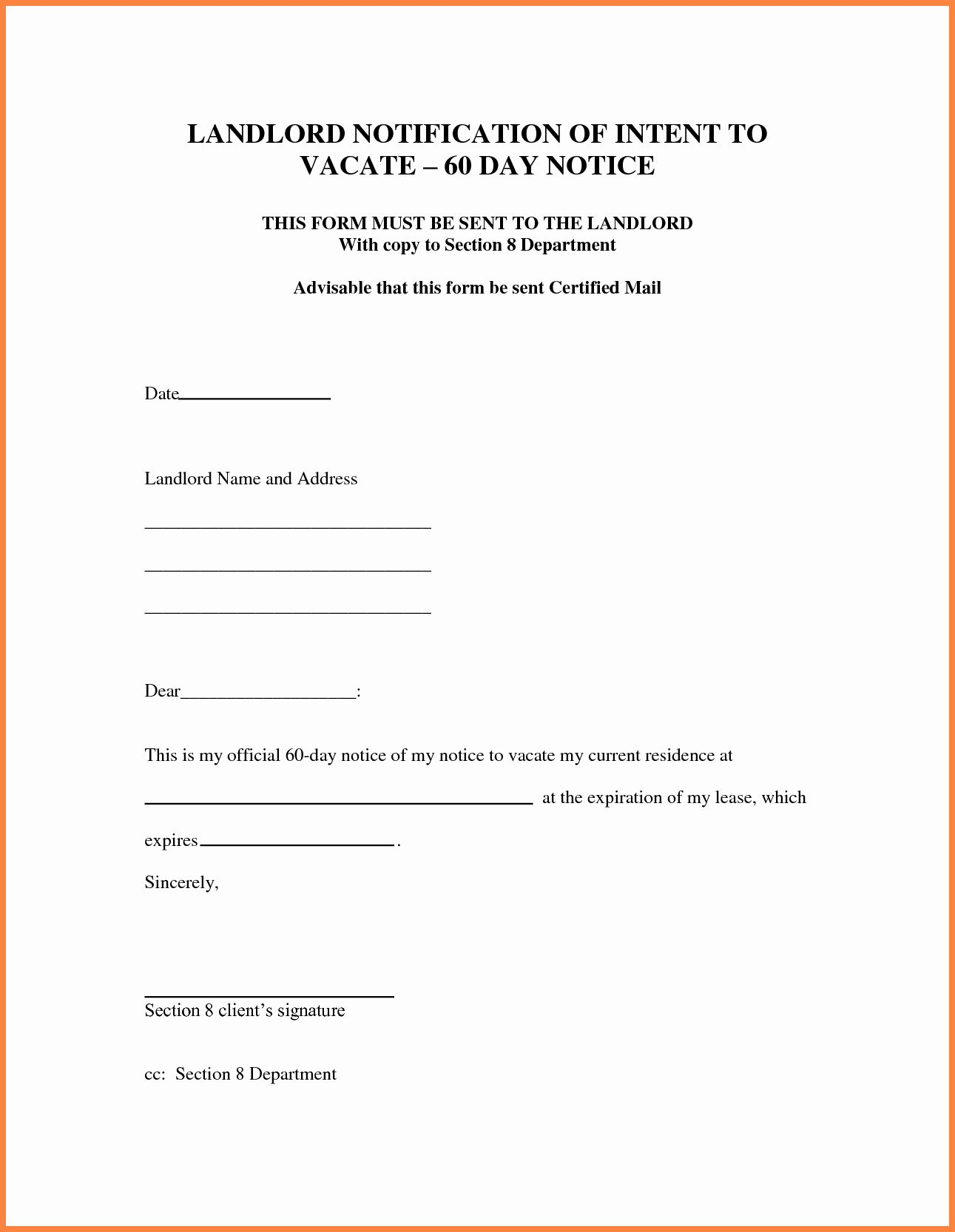 30 Day Notice Letter Template Luxury 9 30 Day Notice To Vacate Letter Template Being A Landlord Letter Templates Lettering 30 day notice to landlord template