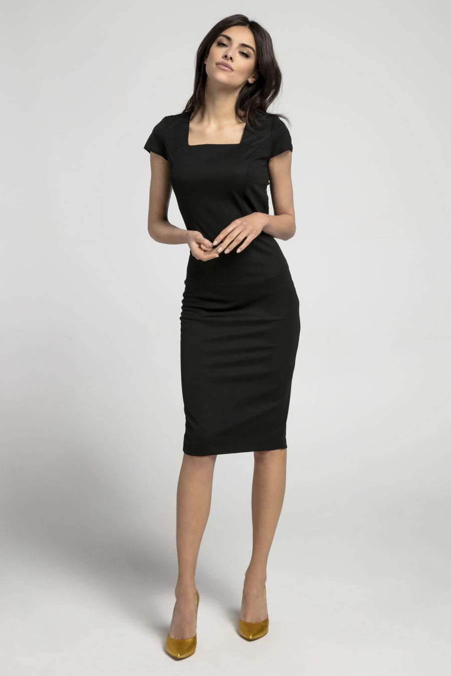 3c1149c8961 Dopasowana Sukienka z Dekoltem Karo Czarna NA1044 w 2019 | Kolekcja ...