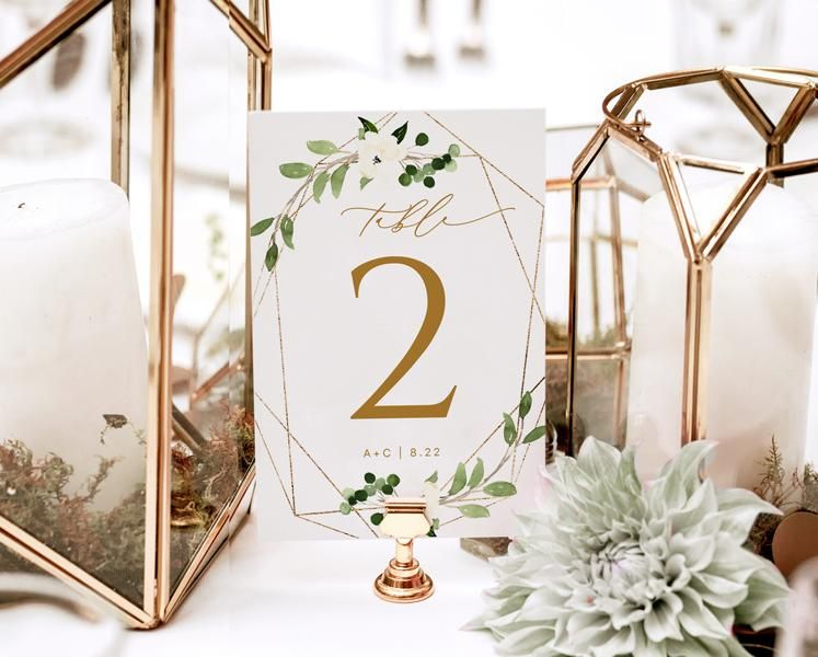 Table Number Templates Geometric Greenery 4 X 6 Edit Online In Templett Wedding Numbers Signing Table Wedding Wedding Table Numbers