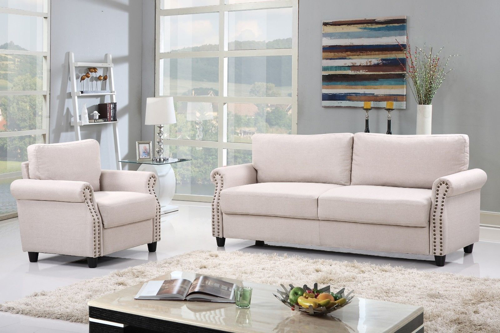 2 Piece Living Room Sofa & Armchair Furniture Set w/ Nailhead Trim ...