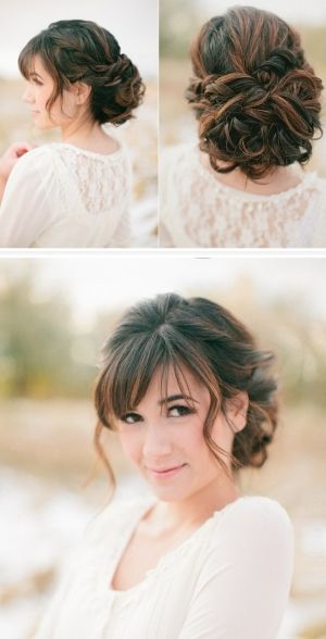 Pretty Bride Hair For Bangs Danielle Berger I Could Totally See You With This Style Hair Styles Bride Hairstyles Medium Hair Styles