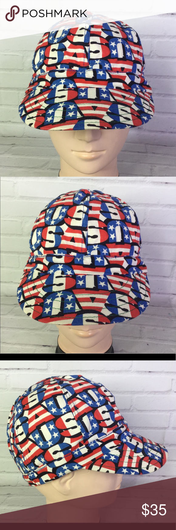 Vintage Kromer 7 3 8 Usa America All Over Print In 2020 Welding Hats Vintage Print