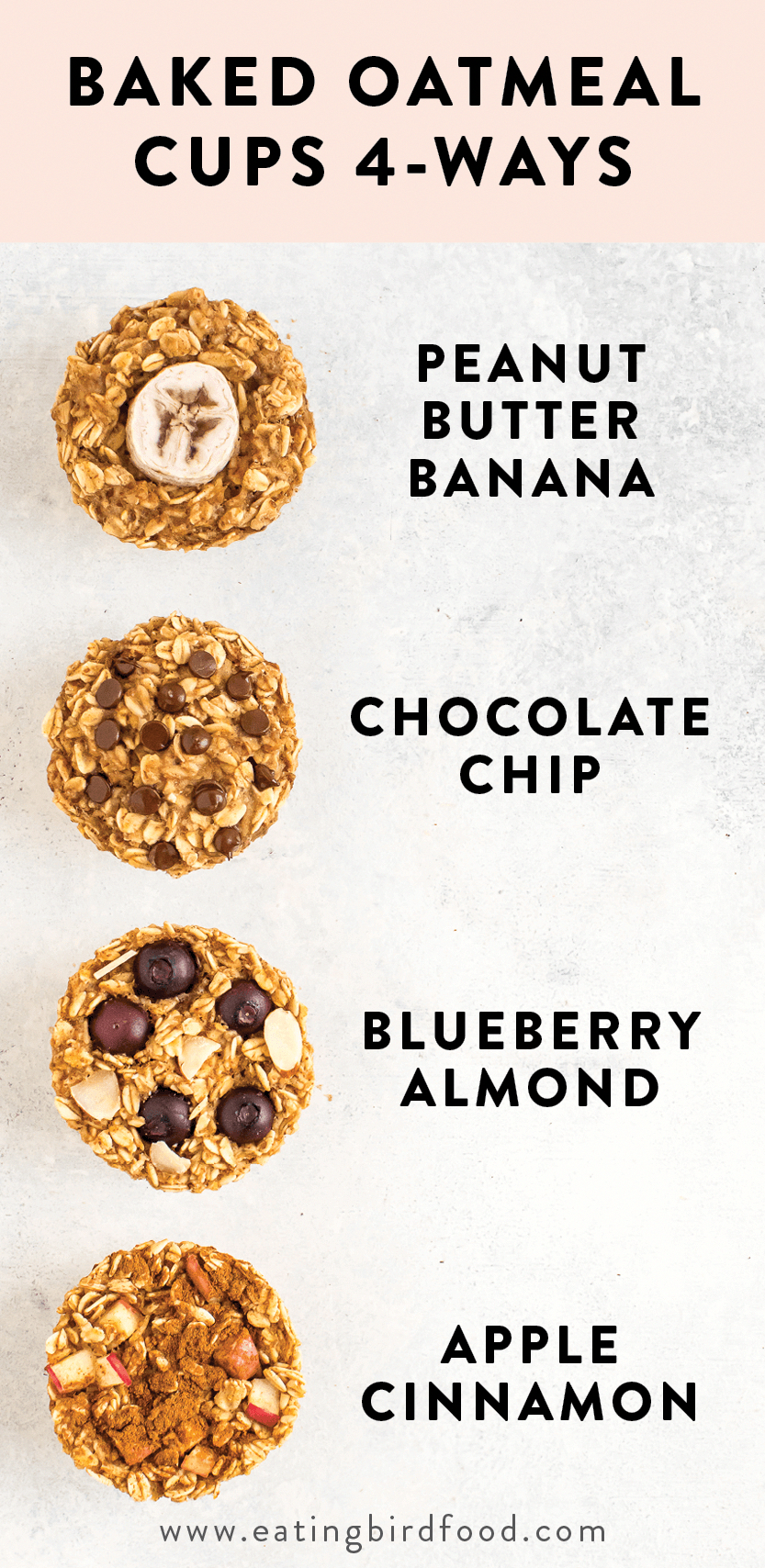 Keep these baked oatmeal cups in your fridge or freezer for an easy, healthy breakfast! There's four different flavor options so you'll never get bored. Vegan + gluten-free.