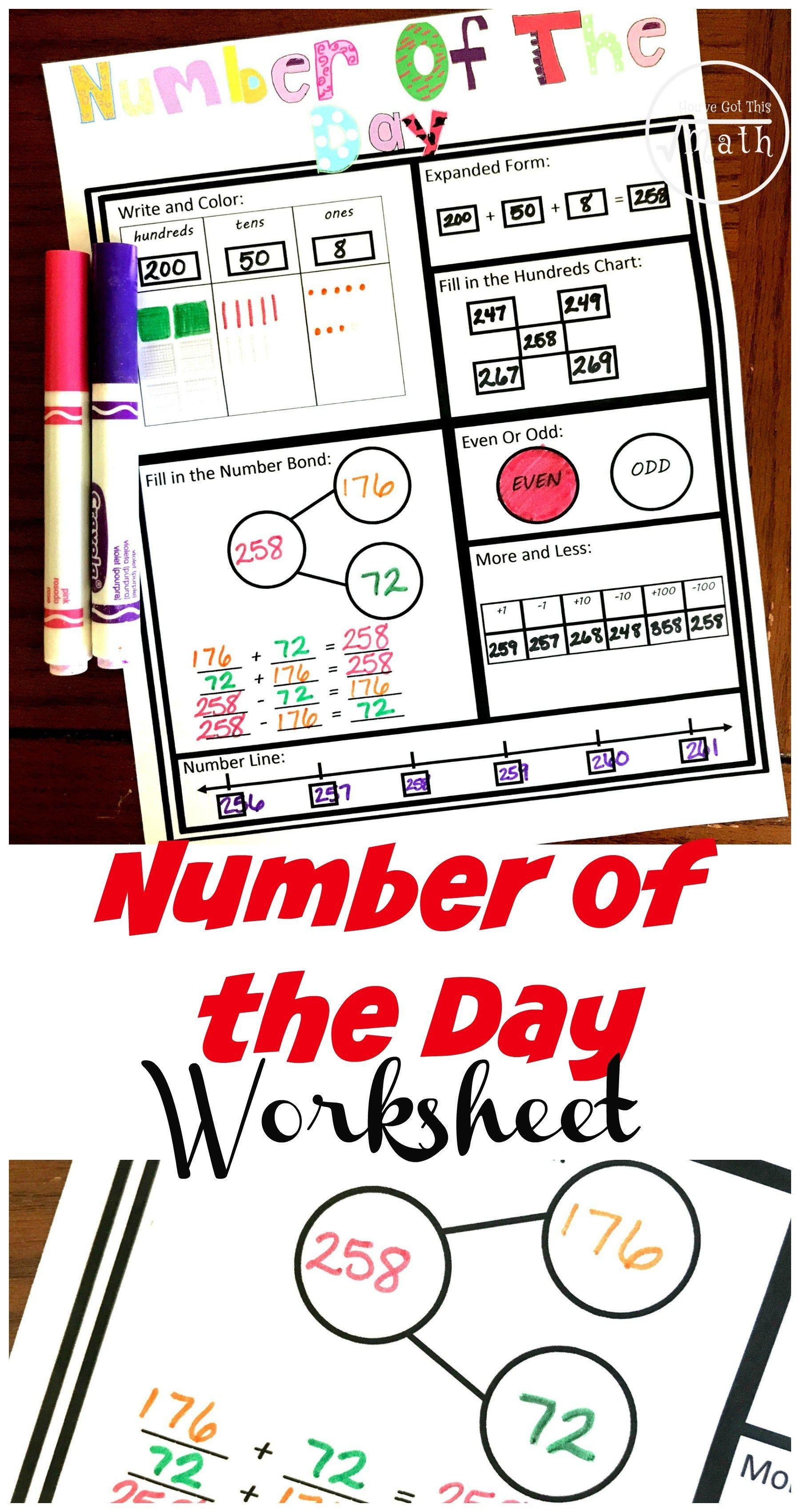 One Groovy And Free Number Of The Day Worksheet
