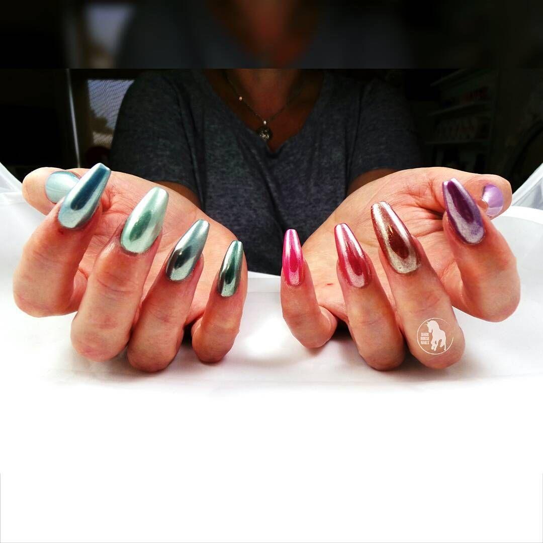 darkhorsenailstudio Rainbow chrome acrylic nails Private salon in ...