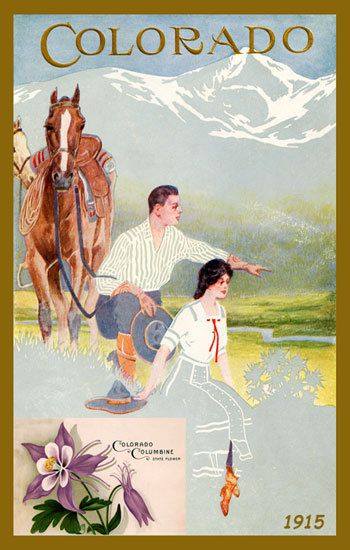 Colorado Couple and Columbine Flowers - 1915 Poster. Printed on cotton. Ready to sew. Single 4x6 block $4.95.