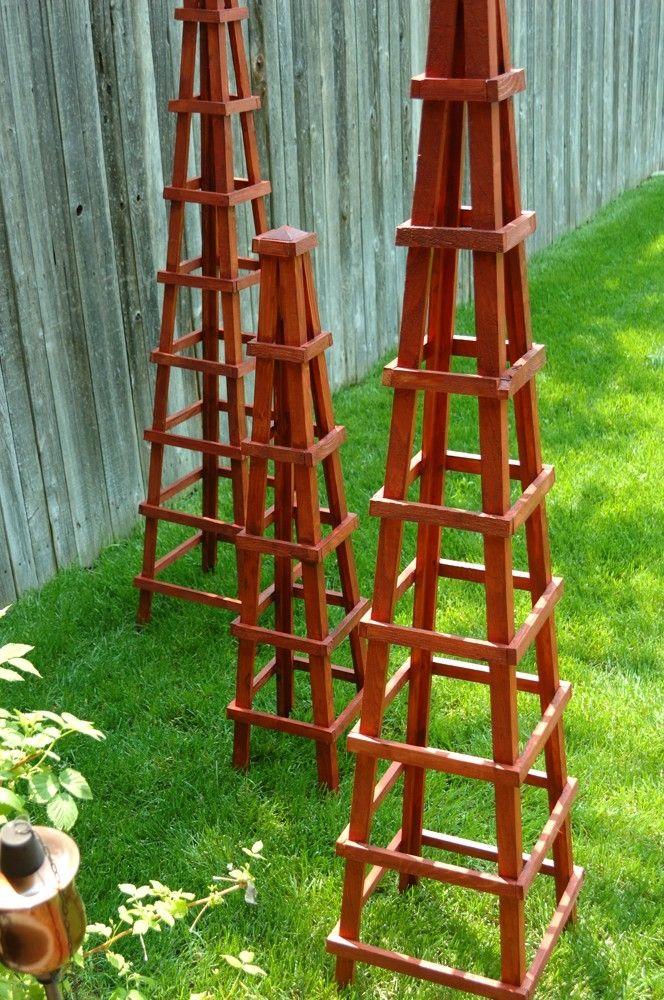 Wood Obelisk Garden Trellis repurpose picture frames then