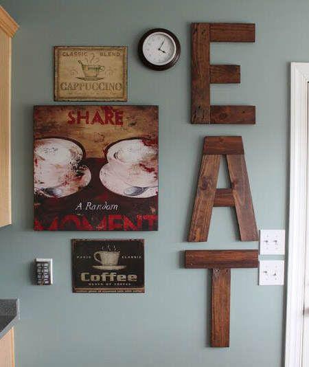 C mo decorar la pared de la cocina letras de madera - Como decorar las paredes de la cocina ...