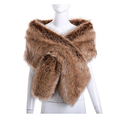 59aee05e1 The perfect Women Long Faux Fox Fur Shawl Bridal Stole Cover up Winter Soft  Bolero Scarf