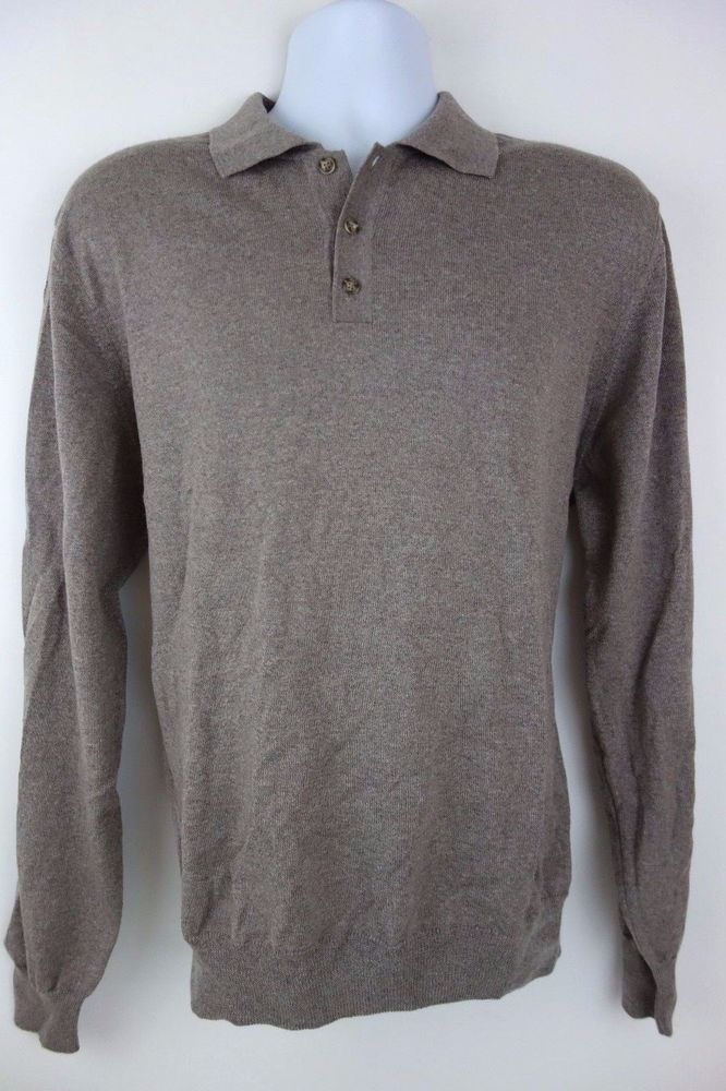 Black Brown 1826 Gray Long Sleeve Merino Wool Polo Sweater Size XL ...