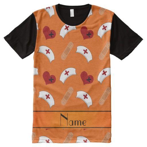 Personalized name orange nurse pattern All-Over print T Shirt, Hoodie Sweatshirt