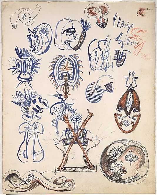 "Untitled Sheet of Studies - 1939-42 - Pen, brush and ink, india ink, graphite, and colored pencil on paper - H13""XW10.25"" - Metropolitan Museum of Art New York - Copyright PKF/ARS"
