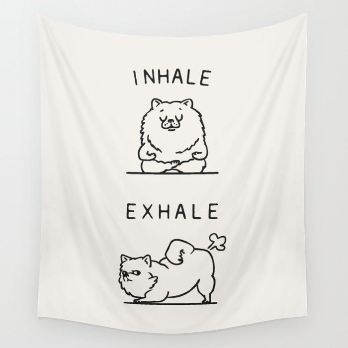 "Inhale Exhale Pomeranian Wall Hanging Tapestry by Huebucket - Small: 51"" x 60"""