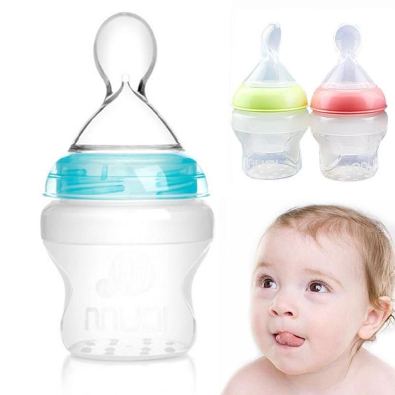 Capacity 150ml infant silica gel baby feeding bottle with spoon food capacity 150ml infant silica gel baby feeding bottle with spoon food supplement rice cereal bottle baby bottle feeding xv2 affiliate ccuart Image collections