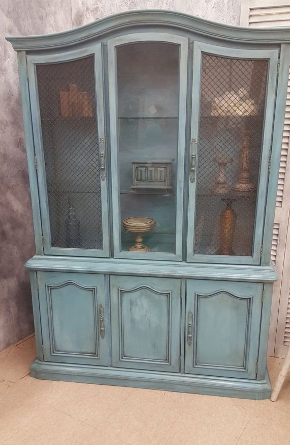 Hand Painted And Distressed Vintage Stanley China Cabinet In Blue Shabby Chic French Provincial Hutch