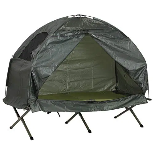 Outsunny 1 Person Compact Pop Up Portable Folding Outdoor Elevated Camping Cot Tent Combo Set Sale At Outdoorfull Com Camping Cot Tent Tent Camping Beds