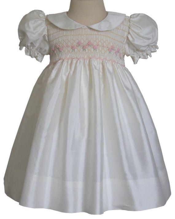 65ec01419 Formal Girls Silk Dress with Pink Smocking Carmen by CarouselWear ...