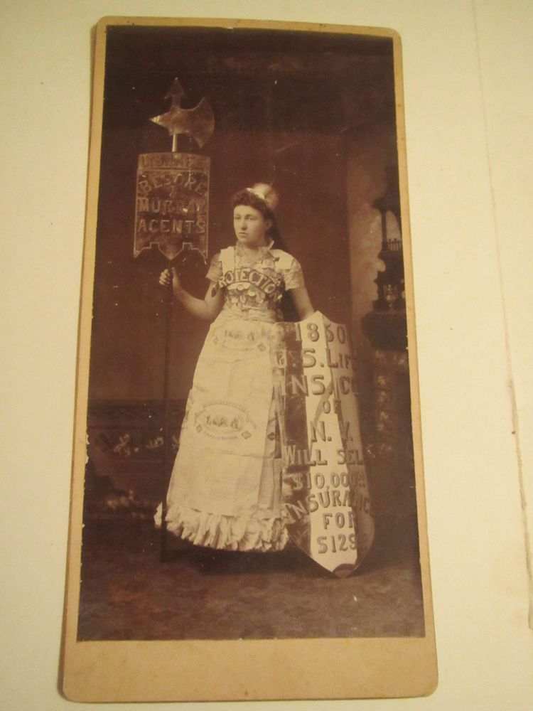 Antique Cabinet Card Lady Advertising Us Life Insurance Of New
