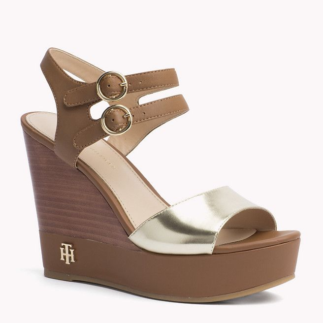 9bafcb14e8 Tommy Hilfiger Mixed Wedge Sandal - cognac/gold (Brown) - Tommy Hilfiger  Wedges & Espadrilles - main image