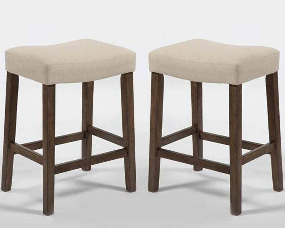 118 Set Of 2 Comfort Verona Saddle 24 H Counter Stools Chairs Ivory Linen Seat Wood 3perfectchoice Contemporary